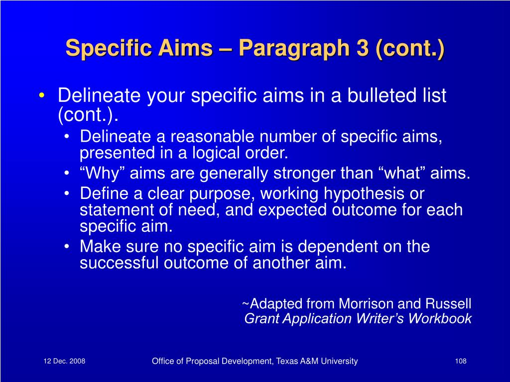 Specific Aims – Paragraph 3 (cont.)