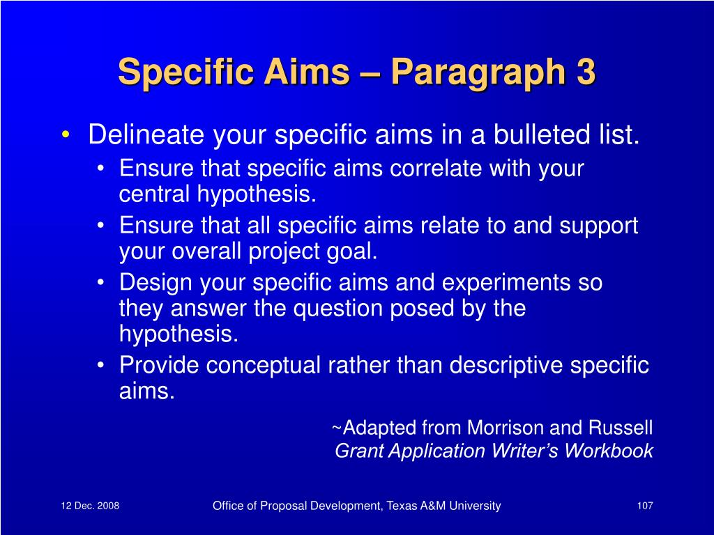 Specific Aims – Paragraph 3