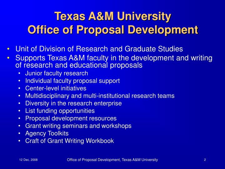 Texas a m university office of proposal development