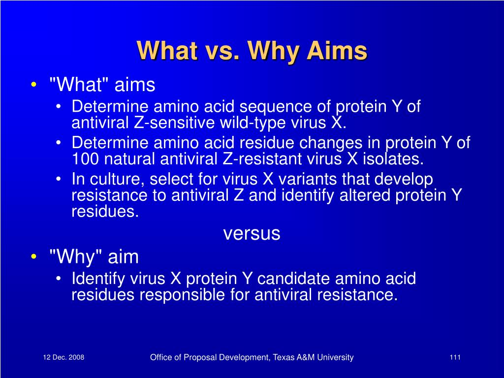 What vs. Why Aims