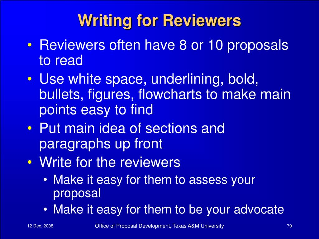 Writing for Reviewers