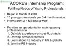 acore s internship program fulfilling needs of young professionals
