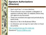 signature authorizations directors