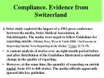 compliance evidence from switzerland