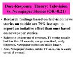 dose response theory television vs newspaper stories or 0 21