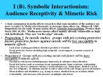 i b symbolic interactionism audience receptivity mimetic risk