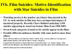 ivb film suicides motive identification with star suicides in film