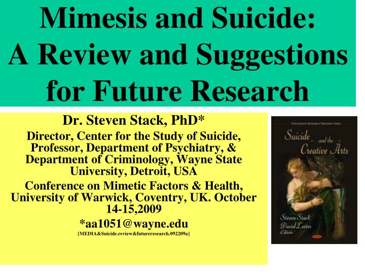 mimesis and suicide a review and suggestions for future research n.
