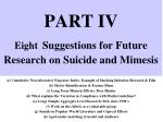 part iv eight suggestions for future research on suicide and mimesis
