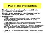 plan of this presentation