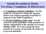 suicide prevention media two issues compliance effectiveness