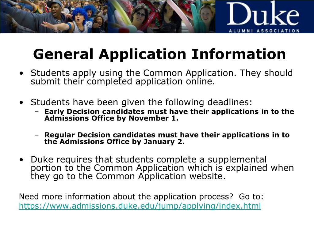 General Application Information