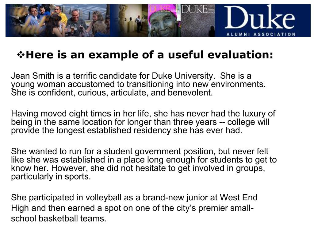 Here is an example of a useful evaluation: