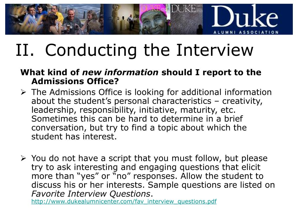 II.Conducting the Interview