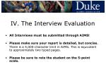 iv the interview evaluation