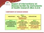impact of interventions on disease burden by instruments of health research box 2 3 4