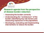 research agenda from the perspective of disease burden reduction2
