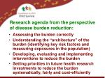 research agenda from the perspective of disease burden reduction3