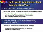 hello world application block configuration view
