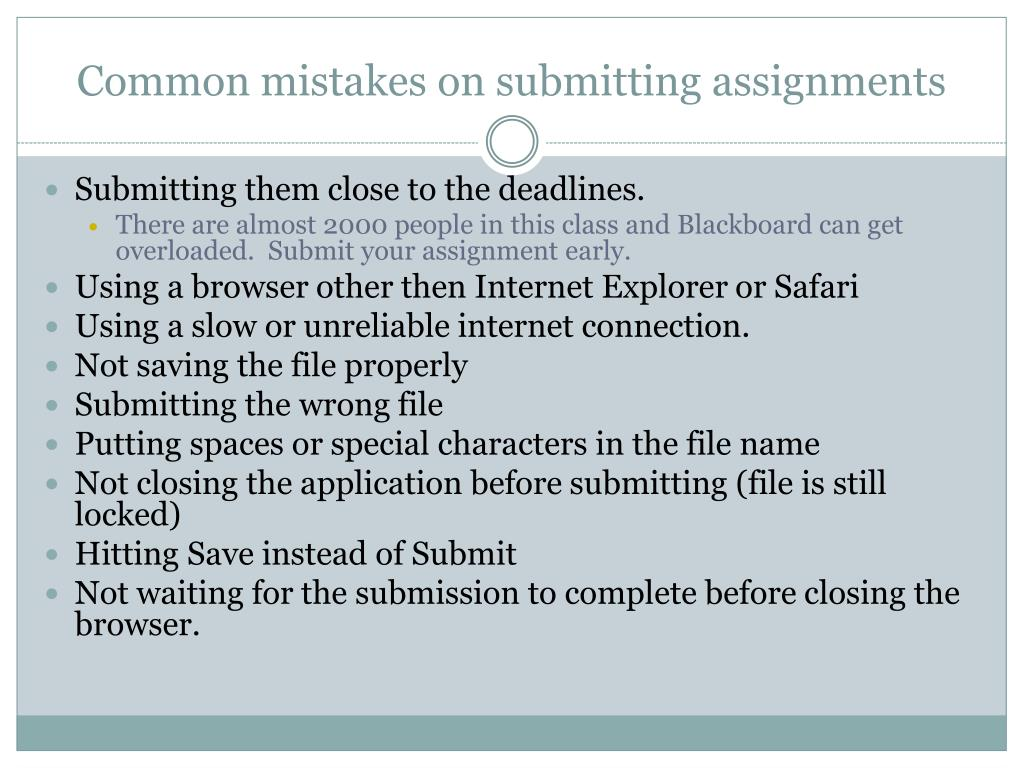 Common mistakes on submitting assignments