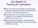 key aspects of planning for operations