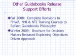 other guidebooks release support efforts