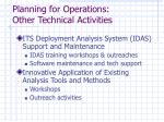 planning for operations other technical activities