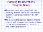 planning for operations program goals