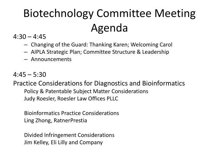 Biotechnology committee meeting agenda