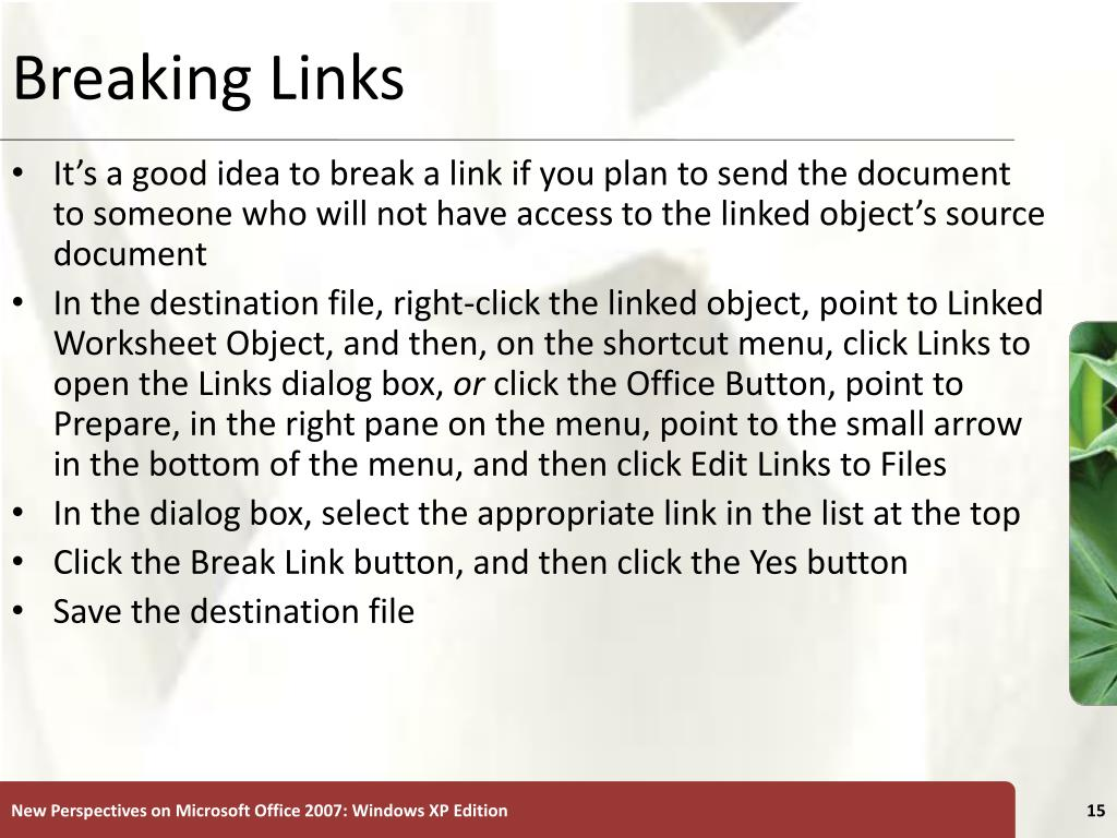 Breaking Links