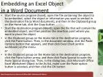 embedding an excel object in a word document