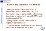 reach and the use of test animals
