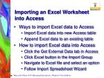 importing an excel worksheet into access