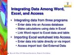 integrating data among word excel and access