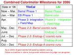 combined calorimeter milestones for 2006