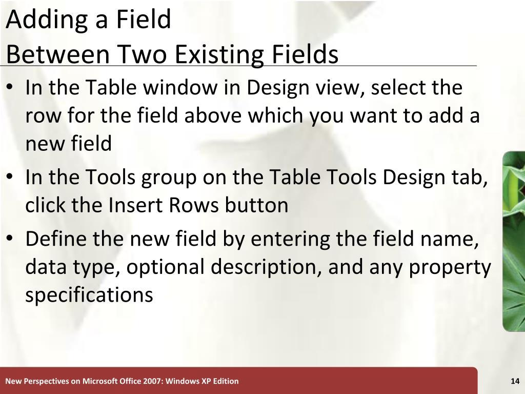 Adding a Field