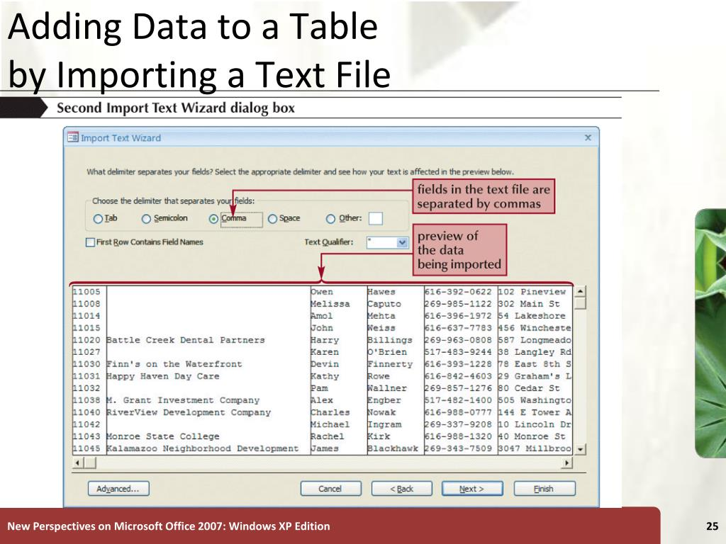 Adding Data to a Table