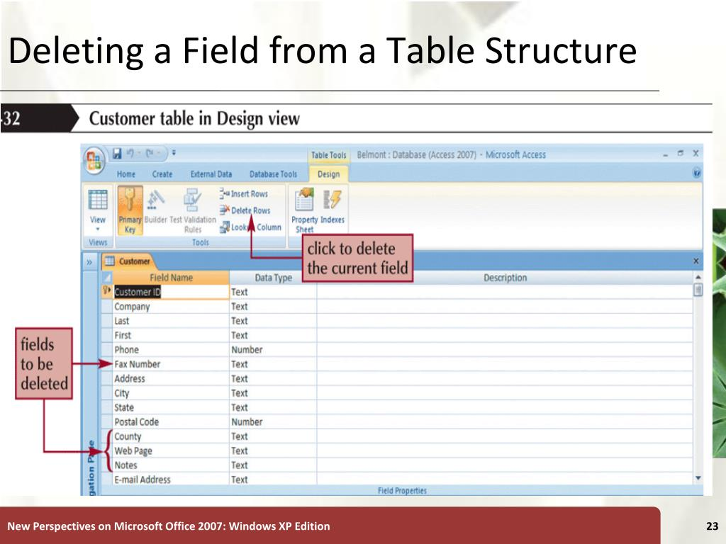 Deleting a Field from a Table Structure