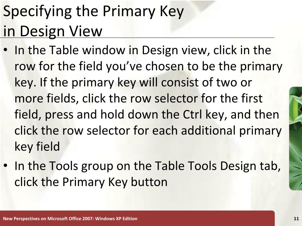 Specifying the Primary Key
