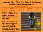 understanding what you read analyzing primary source information