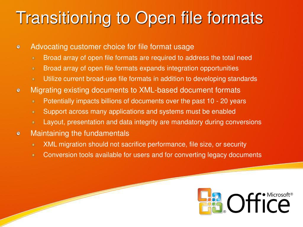 Transitioning to Open file formats