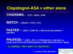 clopidogrel asa v either alone