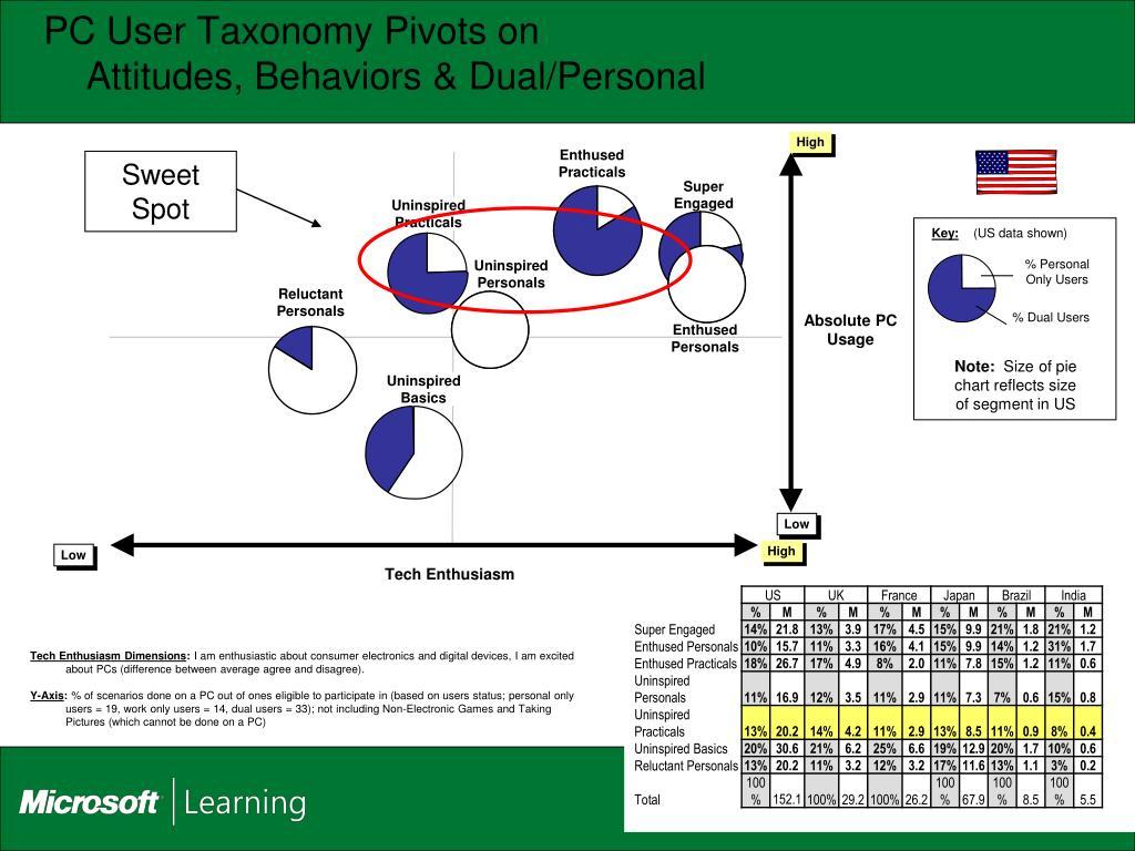 PC User Taxonomy Pivots on
