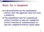 basis for a complaint