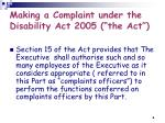 making a complaint under the disability act 2005 the act