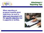 attachment j reporting tips