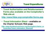 travel expenditures