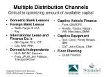 multiple distribution channels critical to optimizing amount of available capital