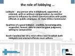 the role of lobbying