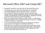 microsoft office 2007 and cimple net